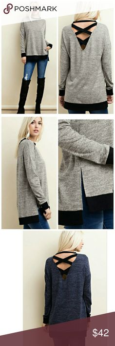 Perfect Criss Cross Top Long sleeve, knit top with contrast binding, deep v back with contrast criss cross binding and side vented hem.   Made in USA    85% Polyester 10% Rayon 5% Spandex  Colors: Charcoal   Navy available in another listing Tops Tees - Long Sleeve
