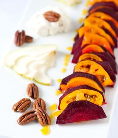 Roasted beet salad with walnuts, pears, and tomato. Sounds simple, light, and yummy!