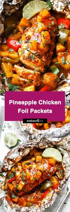 Pineapple Chicken Foil Packets in Oven - So easy and packed with tons of flavor. You'll love the simplicity!