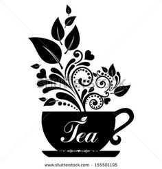 Cute tea time card. Cup with floral design elements. Menu for restaurant, cafe, bar, tea-house. vector illustration