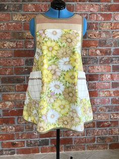 Pinafore apron made from repurposed sheet, tablecloth, and kitchen towels. Pinafore Apron, Kitchen Towels, Repurposed, Summer Dresses, How To Wear, Design, Fashion, Apron, Kitchen Tablecloths