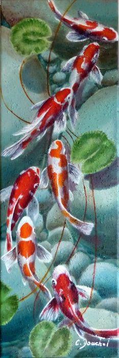 Natation japonaise de koi de carpes d aquarelle for Prix carpe koi japonaise