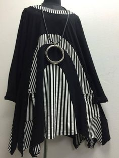 TUNIC BY D CELLI LAGENLOOK GERMAN QUIKRY OSFA- BLACK JERSEY-4 SIZES #DCELLI