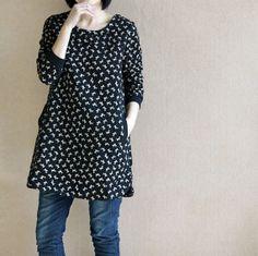 Leisure long Coat dress/ cotton tunic bottoming shirt by MaLieb