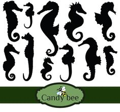 Sea Horse Silhouette Digital Clip art Set - Buy 1 get 1 Free, Buy 2 get 2 Free, Buy 3 get 3 Free ! by CandyBeeDesigns on Etsy Horse Silhouette, Silhouette Clip Art, Royal Icing Transfers, Stationary Design, Bee Design, Party Banners, Crafty Craft, Scrapbook Supplies, Vector Design