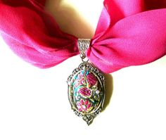Necklace with chiffon scarf ribbon Pendant  Classic silver Fabfic Embroidery Swarovski crystall - pinned by pin4etsy.com