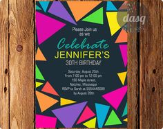 Instant Download Birthday Party Invitations, Adult Geometric, triangle, Fuchsia, neon on Etsy, $8.00