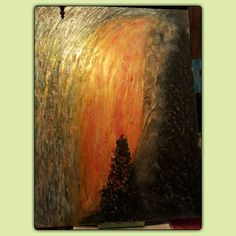 """""""Fire falls Yosemite"""" 30x40 canvas multimedia  .molding paste,acrilic  paint and acrilic  ink.brush and pallette  knife used. Original  .for sale 150$ plus,shipping.painted in feb 2017."""