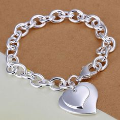 Silver Bracelet Fashion Jewelry Bracelet The double heart cards shrimp buckle bracelet dragon bijoux Heart Bracelet, Heart Jewelry, Fashion Bracelets, Fashion Jewelry, Jewelry Bracelets, Ankle Bracelets, Link Bracelets, Friendship Bracelets, Trendy Jewelry