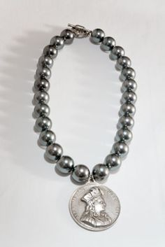 French Kande Grey Shell Pearl Necklace with Antiqued Sterling Silver-Clad Joan of Arc Medallion from Sage Accessories