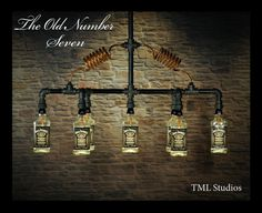 The Old Number Seven - Chandelier Light Fixture made with 7 Jack Daniel's (R) recycled Whiskey Bottles, Steampunk, Vintage, Industrial Lamp