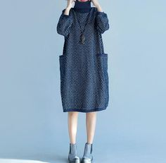 High collar bat sleeve Loose Fitting Cotton dress by MaLieb