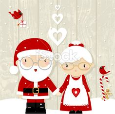 Santa and Mrs Claus Royalty Free Stock Vector Art Illustration