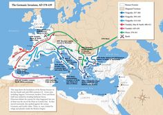 Movement of the Germanic tribes- Vandals, Alans, Suebi towards Spain, Visigoths under Alaric invade Italy and Greece Roman History, European History, World History, Ancient Rome, Ancient History, Battle Of Adrianople, Roman Empire Map, Gravure Illustration, Germanic Tribes