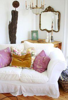 Velvet and floral pillow