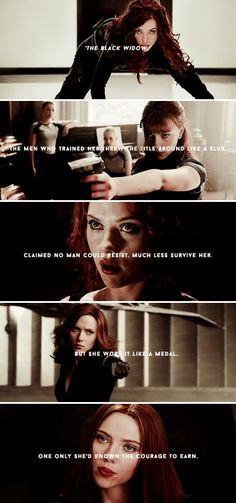 """""""The Black Widow"""". The men who trained her threw the title around like a slur. Claimed no man could resist, much less survive her. But she wore it like a medal. One only she'd known the courage to earn. - James Buchanan Barnes, Winter Soldier #15 (2013)"""