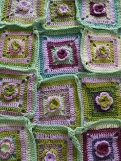 Crochet Squares - love these colours together This I am going to do.