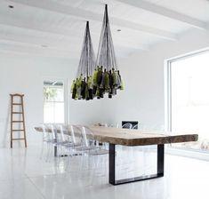 Upcycle. Wine bottle chandelier