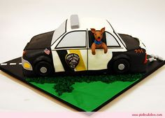 Cop Car Groom's Cake by Pink Cake Box in Denville, NJ.