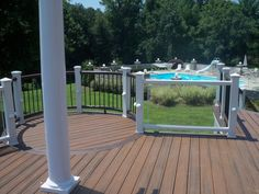 Curved Transcends deck with Radius and glass panel rails Decking Fence, Glass Panels, Creative Design, Swimming Pools, Cool Things To Buy, Stairs, Pool Ideas, Fencing, Building