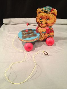 VINTAGE 1966 FISHER PRICE teddy bear with xzylophone VERY RARE PULL TOY ~ #741 #FisherPrice