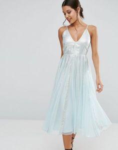 ASOS Metallic Fit and Flare Midi Dress
