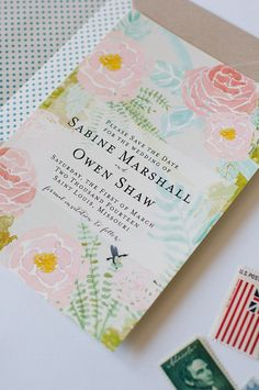 Sabine Save the Date Invitation and Lined von lolalouiepaperie