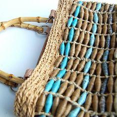 Paper beads - Bolsa feita com contas de jornal - DIY - Reciclagem de papel.