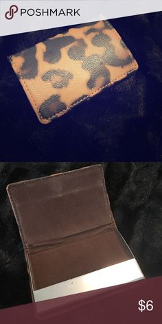Leopard card holder Small card holder perfect for business cards or store loyalty cards. Minor scuffs and scratches but nothing noticeable, in good condition! Bags Wallets