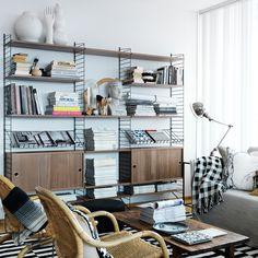 Stringhylla skåp - valnöt - Hyllsystem - String shelves system