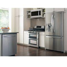 LG 4 Piece GAS | Stainless Steel 30CuFt | Door-in-Door French Door | Super-Capacity Kitchen Suite | LFXS30766S | LDG3036ST | LMH2235ST | LDF7774ST