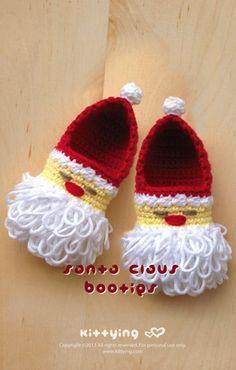 Santa Claus baby booties crochet        ♪ ♪ ... #inspiration_crochet #diy GB http://www.pinterest.com/gigibrazil/boards/