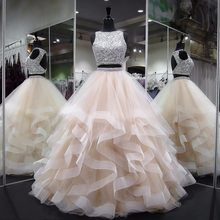 Long Prom Dresses 2018 New Elegant Heavy Beaded Crystals Backless Puffy Champagne African Two Piece Prom Dress(China) Sparkly Prom Dresses, Simple Prom Dress, Prom Dresses 2018, Ball Gowns Prom, Tulle Prom Dress, Quinceanera Dresses, Prom Party Dresses, Party Gowns, Bridal Dresses