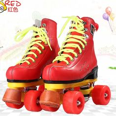 94.50$  Buy here - http://alihuc.worldwells.pw/go.php?t=32712549773 - EUR size 32-37JF Roller Skates Double Line Skates Red With Red Wheels Girl Child F1 Racing 4 Wheels Two line Roller Skate Shoes