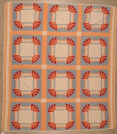 """UNUSUAL HAND STITCHED QUILT, c 1880, 82 x 74"""", Dirk Soulis Auctions, Live Auctioneers"""