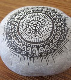 Mandala painted on a rock