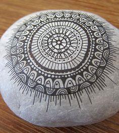 Mandala painted on a rock