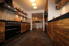 Kitchen; Hi-macs; scaffolding wood