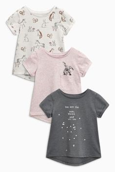 Pink/Grey Bunny T-Shirts Three Pack (3mths-6yrs)