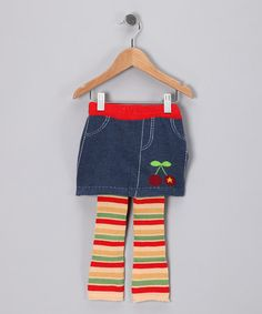 Take a look at this Blue & Tan Chloe Skirted Leggings by flutters on #zulily today!