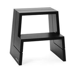 Design Holz-Tritthocker aus massiver Buche, schwarz lackiert - NATUREHOME