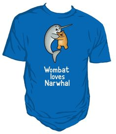 Wombat loves Narwhal. Unisex T-Shirt