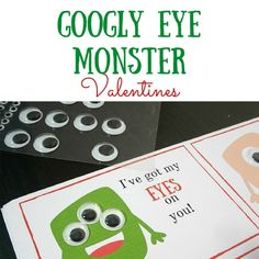 Silly googly eye monster free printable Valentine's Day cards - so cute!