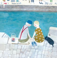'Crabbing At The Jetty' By Painter Mani Parkes. Blank Art Cards By Green Pebble. www.greenpebble.co.uk