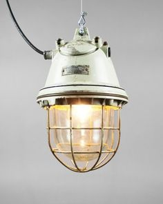 Vintage Pendant Light Fixture with Metal Cage