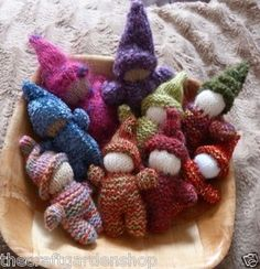 Knitted gnomes. The kids love these at craft fairs
