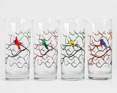 Four Seasons Bird Glasses - Hand Painted Winter Cardinal, Spring Hummingbird, Summer Finch and Autumn Bluebird, Bird Glassware set