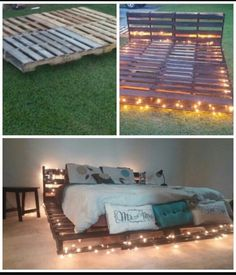 Top 62 Recycled Pallet Bed Frames - DIY Pallet Collection What do you think about the idea of using pallet wood as a base for your bed? Get inspired by the best recycled pallet bed frames now with our collection! Pallet Bedframe, Wood Pallet Beds, Diy Pallet Bed, Diy Pallet Projects, Pallet Furniture, Pallet Ideas, Furniture Ideas, Pallet Porch, Pallet Frames