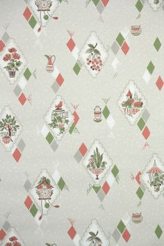 This roll of wallpaper is an authentic, old stock roll from the It is priced by the double roll. 1950s Wallpaper, Vintage Wallpaper Patterns, Of Wallpaper, Pattern Wallpaper, Vintage Patterns, Retro Pattern, Pattern Design, Print Design, Cottage Wallpaper