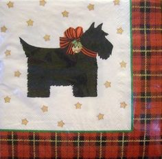 CR Gibson Christmas Scottie Scotty Dog Beverage / Cocktail Napkins 40 Ct Holiday